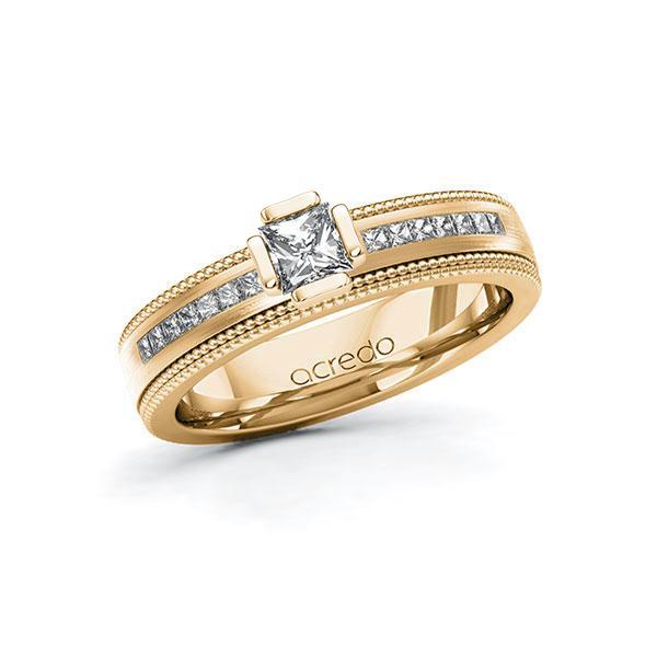 Verlovingsring in roségoud 14 kt. met 0,3 ct. + in totaal 0,42 ct. Princess-Diamant tw,vs tw/si van acredo - A-11LH6Q-EEE5-1TF3J9Z
