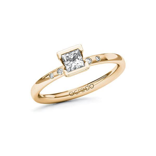 Verlovingsring in roségoud 14 kt. met 0,4 ct. + in totaal 0,03 ct. Princess-Diamant tw,vs tw/si van acredo - A-ZWRL8-EE5-1R4PCFZ