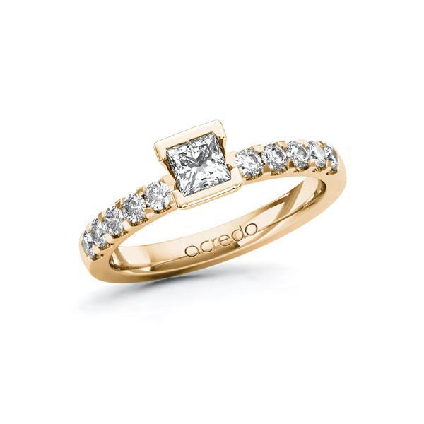 Verlovingsring in roségoud 14 kt. met 0,4 ct. + in totaal 0,3 ct. Princess-Diamant tw,vs tw/si van acredo - A-ZWMF2-EE5-1R4GDJZ