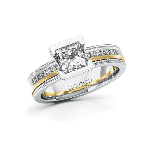 Verlovingsring in witgoud 14 kt. geelgoud 14 kt. met 1 ct. + in totaal 0,42 ct. Princess-Diamant tw,vs tw/si van acredo - A-11LH70-WGW5-1SWELJZ